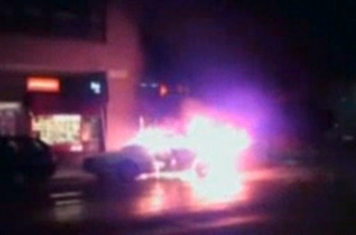 In this frame grab taken from Associated Press Television News video and provided by Hector Eguia shows a car burning and exploding in Stockholm on Saturday, Dec. 11, 2010. (AP Photo/APTN, Hector Eguia)