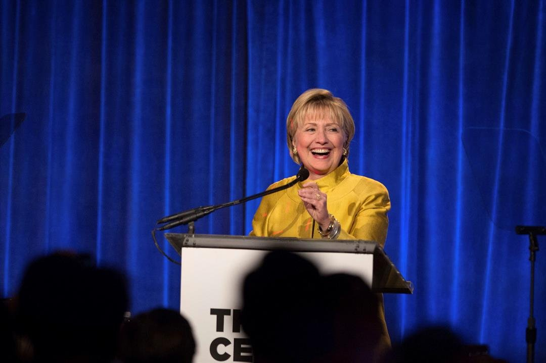 Former Secretary of State Hillary Clinton speaks after accepting the Trailblazer Award during the LGBT Community Center Dinner at Cipriani Wall Street on Thursday, April 20, 2017, in New York. (AP Photo/Kevin Hagen)