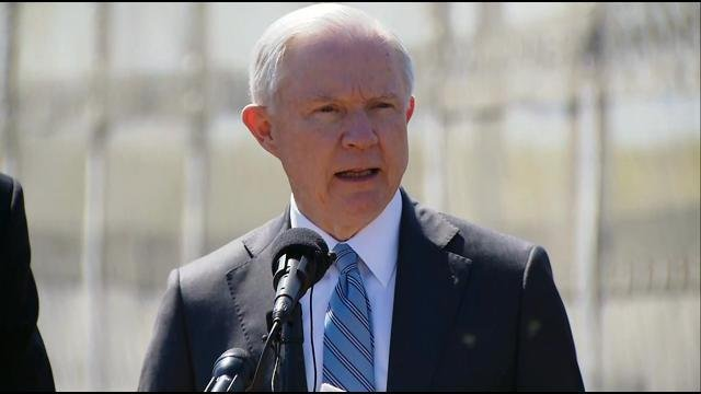 Attorney General Jeff Sessions speaks in San Diego at the border with Mexico. (Friday, April 21, 2017)