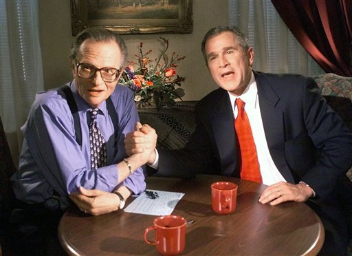 """FILE - In this Dec. 16, 1999 file photo, Republican presidential candidate Texas Gov. George W. Bush jokes with CNN's Larry King after finishing the """"Larry King Live"""" show from the Wildhorse Saloon in Nashville, Tenn. After 25 years of """"Larry King Live,"""""""