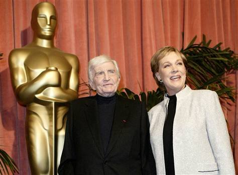 Director Blake Edwards, and his wife, Julie Andrews, arrive at the Oscar nominees luncheon Monday, Feb. 9.