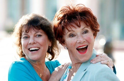 In this June 18, 2009 file photo, actresses Erin Moran, left, and Marion Ross pose together at the Academy of Television Arts and Sciences.