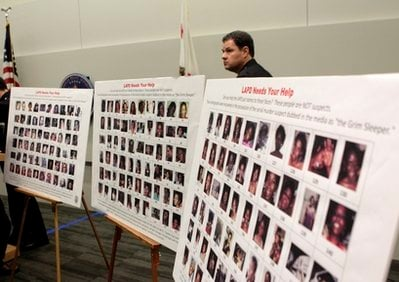 Photographs found in the possession of Lonnie David Franklin Jr. are shown during a news conference in Los Angeles, Thursday, Dec. 16, 2010.
