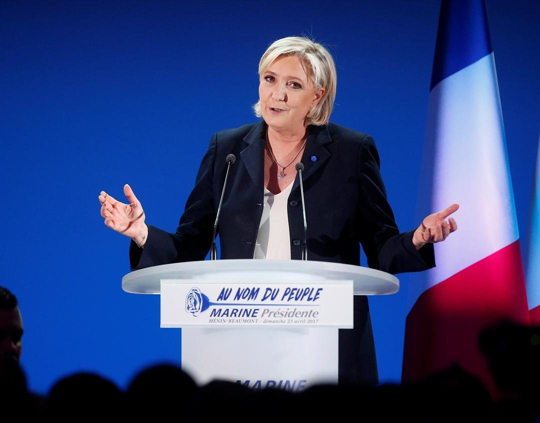 Far-right leader and candidate for the 2017 French presidential election, Marine Le Pen, addresses supporters at her election day headquarters in Henin-Beaumont, northern France, Sunday, April 23, 2017. (AP Photo/Michel Spingler)