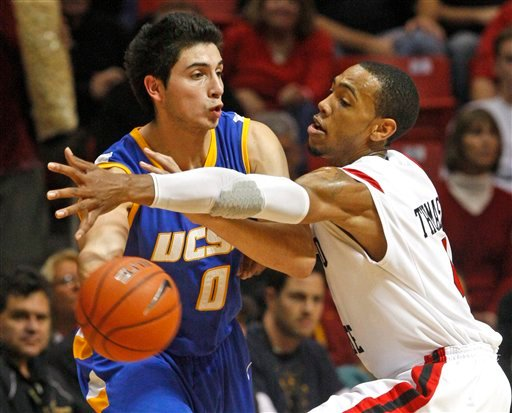 San Diego State's Malcolm Thomas, right, guards UC Santa Barbara's Jaime Serna in the first half of an NCAA college basketball game in San Diego, Saturday, Dec. 18, 2010. (AP Photo/Lenny Ignelzi)