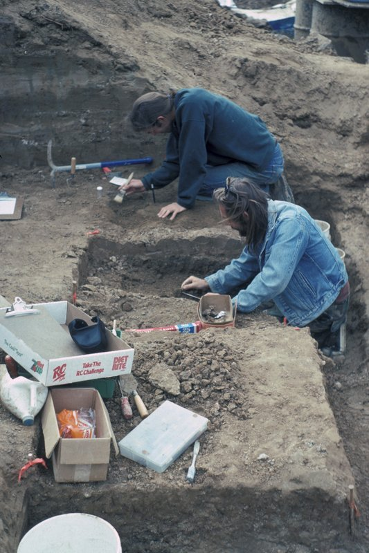 In this February 1993 photo provided by the San Diego Natural History Museum, San Diego Natural History Museum paleontologists C. Paul Majors and Matt Colbert work at the Cerutti Mastodon site in San Diego, Calif.