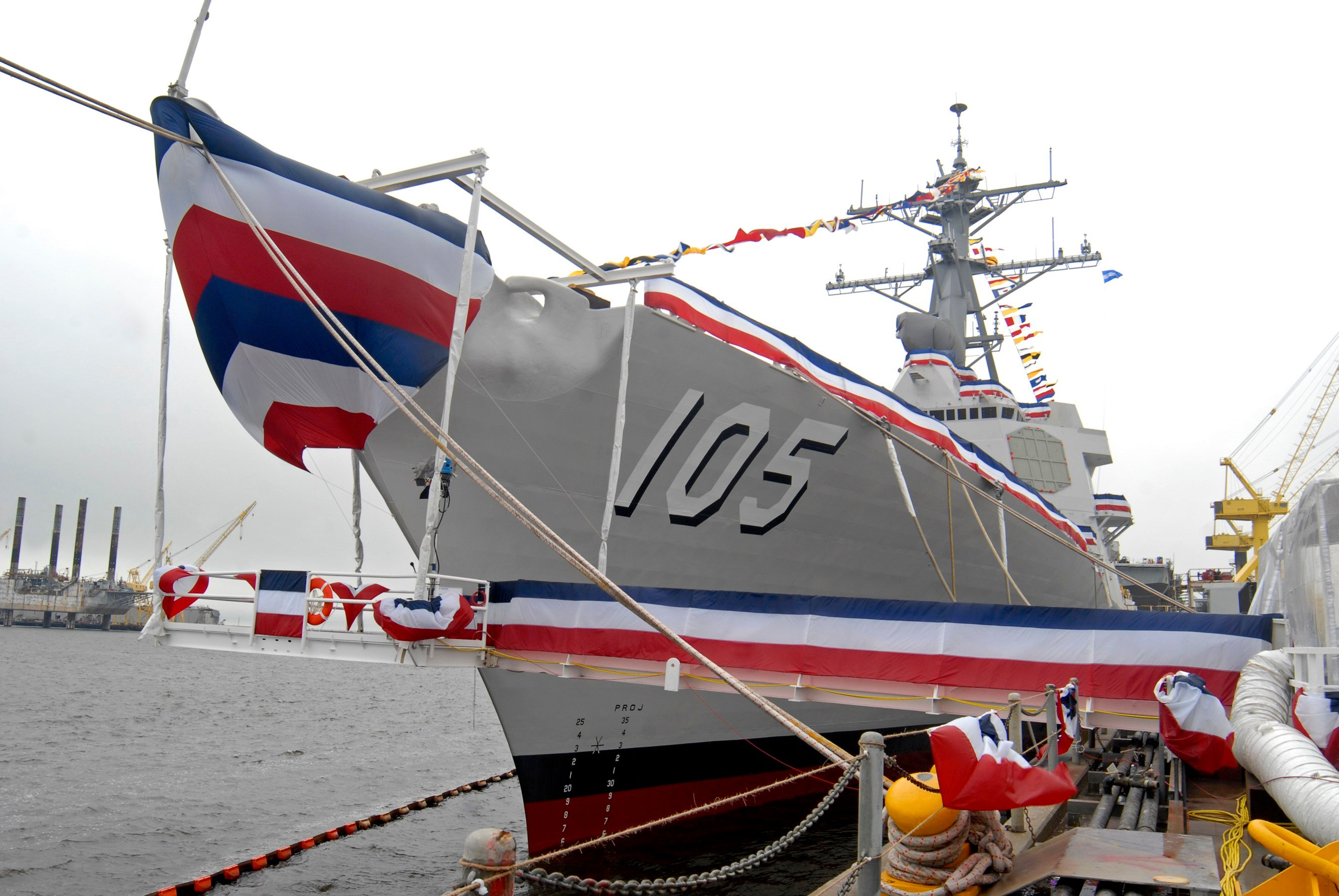 The USS Dewey (DDG 105), a United States Navy Aegis Guided Missile Destroyer sits at Northrop Grumman shipyard, Saturday, Jan. 26, 2008, on its christening day in Pascagoula, Miss. Dewey honors Adm.  AP