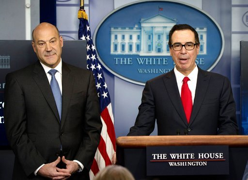 Secretary of the Treasury Steven Mnuchin and National Economic Director Gary Cohn hold a press briefing to outline President Trump's tax reform during a White House press briefing. Washington DC. April 26, 2017 (Rex Features via AP Images)