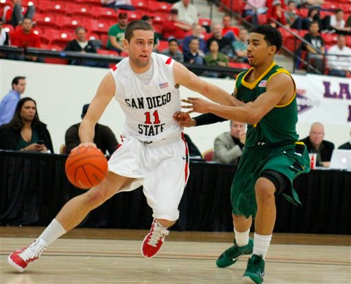 San Diego State's James Rahon drives to the basket against San Francisco's Michael Williams during the first half of an NCAA college basketball game in the Holiday Hoops Classic on Tuesday, Dec. 321, 2010, in Las Vegas. (AP Photo/Keith Shimada)