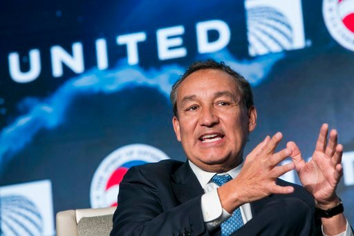 Oscar Munoz, Chief Executive Officer, United Airlines, speaks during the 2017 Aviation Summit hosted by the U.S. Chamber Of Commerce in Washington, D.C., on March 2, 2017. Photo By Kristoffer Tripplaar (Sipa via AP Images)