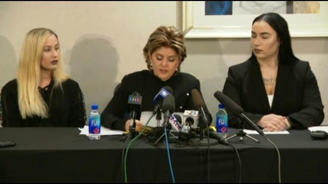 Gloria Allred (center) with alleged victims Lance Corporal Marisa Woytek (left) and Erika Butner (right) who left the Marine Corps. in 2016