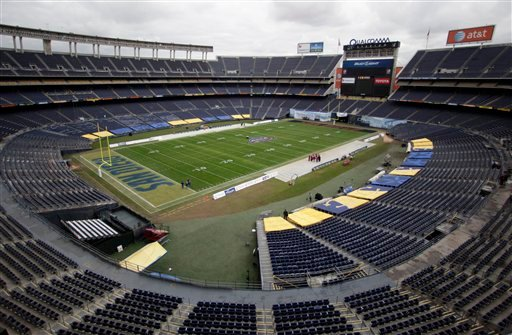 Qualcomm Stadium, the site of Thursday's, Dec. 23, 2010, Poinsettia Bowl football game between San Diego State and Navy, is pumped clear of what was reported to be 1.5 million gallons of water that flooded the facility.