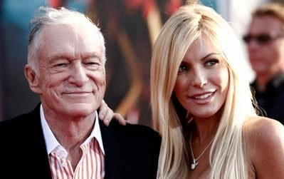 FILE - Hugh Hefner, left, and Crystal Harris arrives at the premiere of 'Iron Man 2' at the El Capitan Theatre in Los Angeles in this April 26, 2010 file photo.