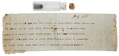 In this Jan. 14, 2009 image shows a Civil War bottle with a message that was tucked inside at the Museum of the Confederacy in Richmond, Va.