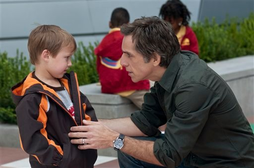 "In this film publicity image released by Universal Pictures, Colin Baiocchi, left, and Ben Stiller are shown in a scene from ""Little Fockers."" (AP Photo/Universal Pictures, Glen Wilson)"
