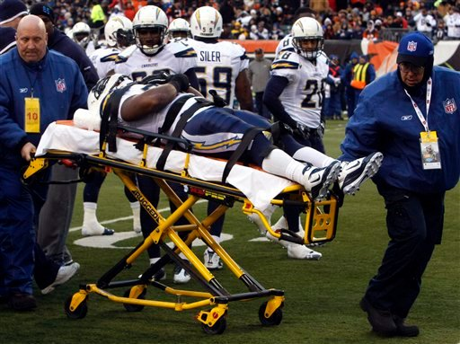 San Diego Chargers fullback Mike Tolbert is taken off the field with a neck injury in the first half of an NFL football game against the Cincinnati Bengals, Sunday, Dec. 26, 2010, in Cincinnati. (AP Photo/David Kohl)