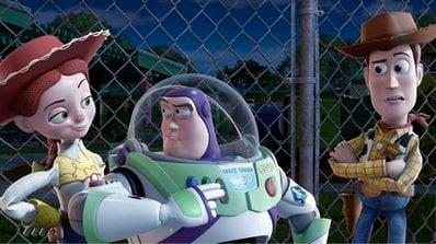 In this film publicity image released by Disney, from left, Jessie, voiced by Joan Cusack, Buzz Lightyear, voiced by Tim Allen and Woody, voiced by Tom Hanks are shown in a scene from 'Toy Story 3.'