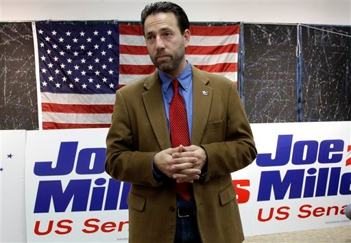 In this Nov. 9, 2010 file photo, Republican Joe Miller speaks with reporters during a news conference in Juneau, Alaska. (AP Photo/Rick Bowmer, File)