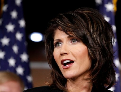 In this Nov. 18, 2010 file photo, then-Rep.-elect Kristi Noem, R-S.D. speaks during a Republican news conference on Capitol Hill in Washington. (AP Photo/Harry Hamburg, File)