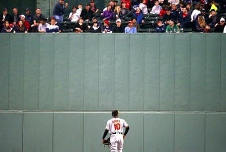 Baltimore Orioles' Adam Jones looks up at fans in center field during the third inning of a baseball game against the Boston Red Sox.