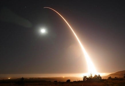 An unarmed Minuteman 3 intercontinental ballistic missile launches during an operational test just after midnight.