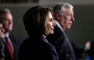 Outgoing House Speaker Nancy Pelosi of Calif., left, and outgoing House Majority Leader Steny Hoyer of Md., take part in a news conference on Capitol Hill in Washington, Tuesday, Jan. 4, 2011.