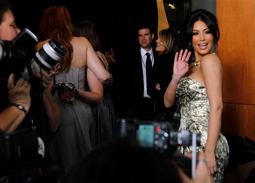 Kim Kardashian is seen backstage at the People's Choice Awards on Wednesday, Jan. 5, 2011, in Los Angeles. (AP Photo/Matt Sayles)