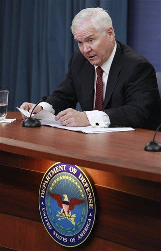 Defense Secretary Robert Gates talks to the media about defense budget cuts, Thursday, Jan. 6, 2011, at the Pentagon. (AP Photo/Alex Brandon)