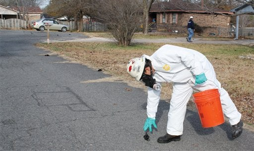 n this Jan. 1, 2011 file photo, a worker with U.S. Environmental Services, a private contractor, picks up a dead bird in Beebe, Ark. where more than 3,000 dead black birds fell from the sky on New Year's Eve.