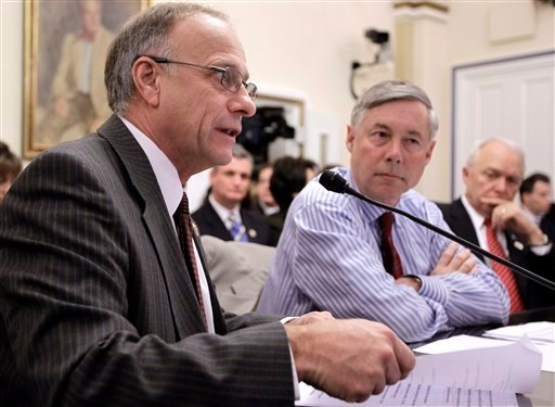 Rep. Steve King, R-Iowa, Rep. Fred Upton, R-Mich. and Rep. John Kline, R-Minn., testify on Capitol Hill Jan. 6, 2011, regarding legislation that would repeal the health care overhaul bill. (AP Photo/Charles Dharapak)