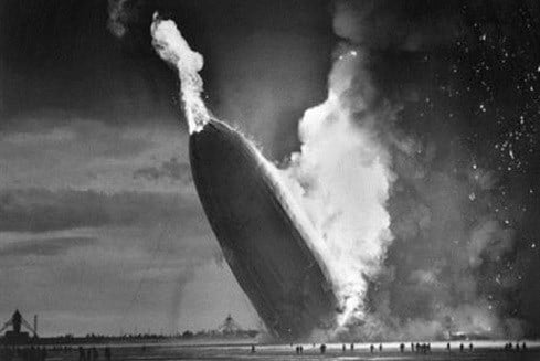May 6, 1937 file photo, the German dirigible Hindenburg crashes to earth in flames after exploding at the U.S. Naval Station in Lakehurst, N.J.