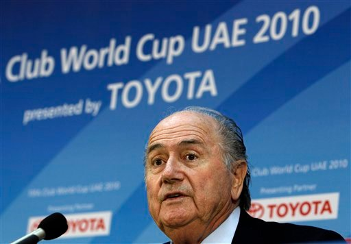 FIFA President Joseph S. Blatter, speaks during a press conference for the FIFA Club World Cup at Zayed sport city stadium, in Abu Dhabi, United Arab Emirates in this Dec. 17, 2010 file photo. (AP Photo/Hussein Malla, File)
