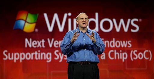 Microsoft CEO Steve Ballmer discusses System on a Chip while giving his keynote speech at the Consumer Electronics Show, Wednesday, Jan. 5, 2011 in Las Vegas. (AP Photo/Julie Jacobson)