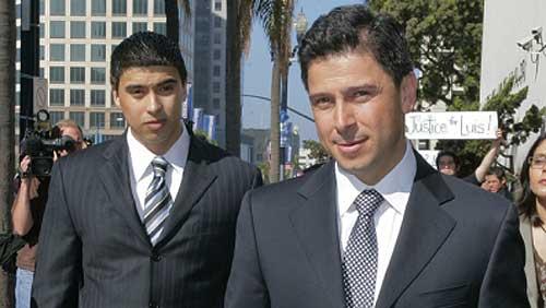 Former California Assembly Speaker Fabian Nunez, right, and his son Esteban Nunez, left.