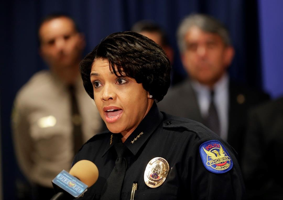 Phoenix Police Chief Jeri L. Williams announces, Monday, May 8, 2017, in Phoenix, the arrest of 23-year-old Aaron Saucedo in connection with the serial street shootings that terrorized the Phoenix area over four months in 2016. (AP Photo/Matt York)