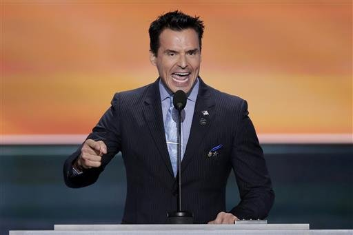 Actor Antonio Sabato, Jr., speaks during the opening day of the Republican National Convention in Cleveland, Monday, July 18, 2016. (AP Photo/J. Scott Applewhite)