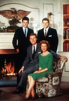 FILE - This undated file photo shows the Nelson Family, Ozzie and Harriet with sons Ricky, left, and David, in their television home.