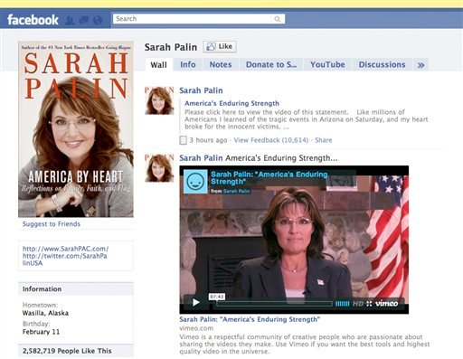 This image taken from Facebook.com Jan. 12, 2011 shows the Facebook page of Sarah Palin. (AP Photo/Facebook.com)