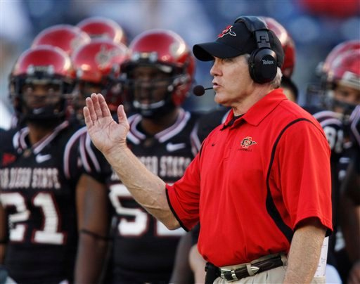 In this Oct. 31, 2009, file photo, San Diego State defensive coordinator Rocky Long gestures during an NCAA college football game against New Mexico in San Diego.