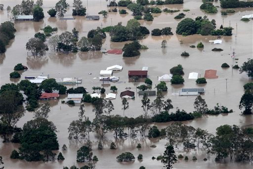 An entire suburb is submerged outside Ipswich, west of Brisbane, Australia, Wednesday, Jan. 12, 2011.
