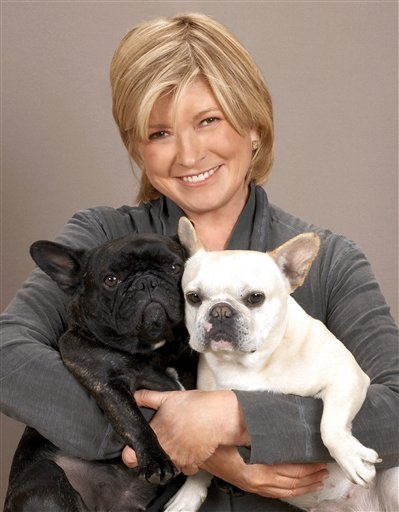 FILE - Martha Stewart, pictured with her French Bulldogs Francesca and Sharkey, in this Oct. 20, 2009 file photo. The 69-year-old lifestyle guru wrote on her blog Thursday Jan. 13, 2011.