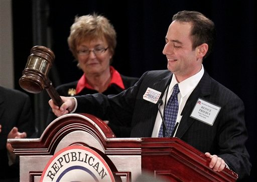 The new elected Republican National Committee (RNC) Reince Priebus bangs the gavel on the podium after winning the post during the Republican National Committee Winter Meeting, Friday, Jan. 14, 2011 in Oxon Hill, Md. (AP Photo/Pablo Martinez Monsivais)