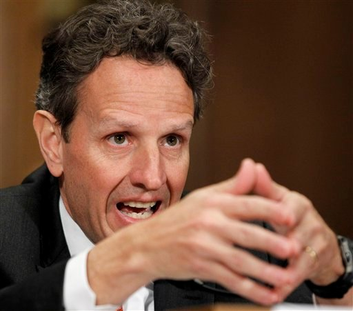 In this Dec. 16, 2010, file photo Treasury Secretary Timothy Geithner testifies on Capitol Hill in Washington before the Congressional Oversight Panel hearing on TARP. (AP Photo/Alex Brandon, File)