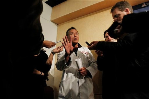 In this Jan. 11, 2011 file photo, Dr. Peter Rhee, Chief Trauma and Critical Care Emergency Surgery doctor at University Medical Center, describes in more detail the gunshot wound Rep. Gabrielle Giffords, D-Ariz.,received on Saturday. (AP)