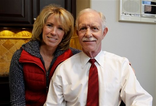 "Capt. Chesley ""Sully"" Sullenberger and his wife, Lori, pose at their home in Danville, Calif., Monday, Jan. 10, 2011. (AP Photo/Paul Sakuma)"