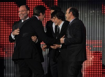 The cast and crew of 'The Social Network' is seen on stage as they accept the award for best picture at the 16th Annual Critics' Choice Movie Awards on Friday, Jan. 14, 2011, in Los Angeles.  (AP Photo/Chris Pizzello)