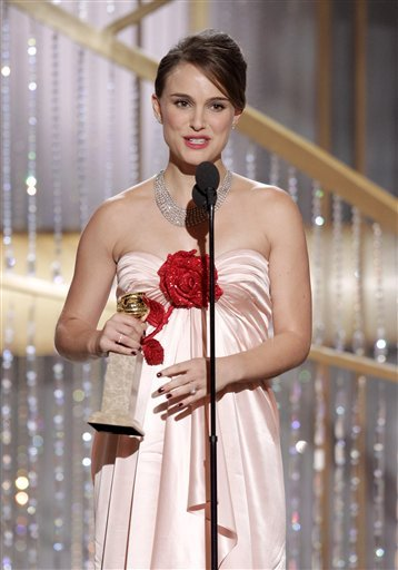 "In this publicity image released by NBC, Natalie Portman accepts the award for Best Actress in a Motion Picture Drama for her role in ""Black Swan""during the Golden Globe Awards, Sunday, Jan. 16, 2011 in Beverly Hills, Calif."