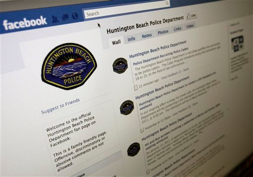 A Facebook page for the Huntington Beach, Calif., Police Department is shown Jan. 14, 2011. The Huntington Beach Police could soon be trying electronic shaming as a way of keeping drunken drivers off the road. (AP Photo/Richard Vogel)