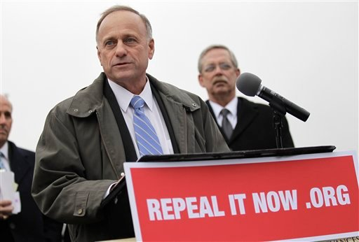 Rep. Steve King, R-Iowa speaks during a news conference on Capitol Hill in Washington, Tuesday, Jan. 18, 2011, after accepting delivery of signed petitions demanding the repeal of 'ObamaCare' . (AP Photo/Pablo Martinez Monsivais)