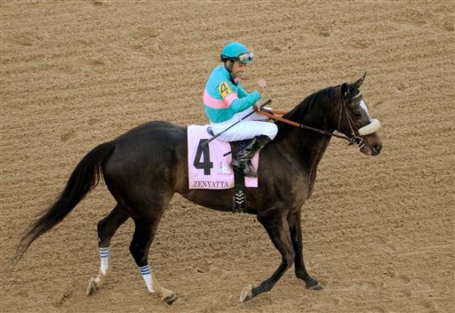 In this April 9, 2010, file photo, Jockey Mike Smith, aboard Zenyatta, salutes the crowd on the way to the winner's circle after Zenyatta won the Apple Blossom Invitational at Oaklawn Park in Hot Springs, Ark. (AP Photo/David Quinn, File)